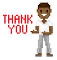 interface pixel game man with dark skin vector image