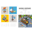 isometric robotic assistants infographic template vector image vector image