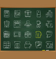 kitchen appliance chalk draw line icons set vector image