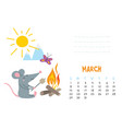 march calendar page with cute rat in travel vector image vector image