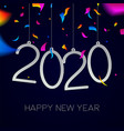 new year 2020 color carnival party confetti card vector image