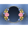 Oval Banner with Pink Roses vector image vector image
