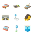 Parking transport icons set cartoon style vector image vector image