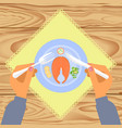 person is eating boiled salmon vector image vector image