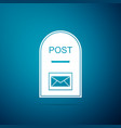 post box icon on blue background mail box sign vector image