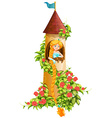 Princess sitting in castle tower vector image vector image