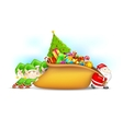 Santa Claus and Elf with Christmas Gift vector image vector image