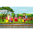 scene with family having fun in park vector image