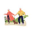 senior couple walks in park with dog cartoon vector image
