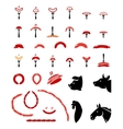 set flat meat and sausage icons vector image