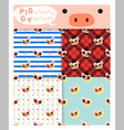 Set of animal seamless patterns with piggy 1 vector image vector image