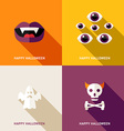 Set of Flat Design Halloween Greeting Cards Teeths vector image vector image