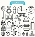 set of outline stroke baby icon vector image