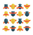 shields with ribbons vector image vector image