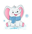 small grey elephant in scarf children vector image vector image