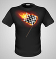t shirts Black Fire Print man 15 vector image vector image