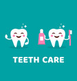teeth care concept healthy smiling tooth with vector image