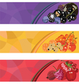 three banners with berries of different colors vector image vector image