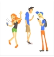 Three Young People Using Gadgets vector image vector image