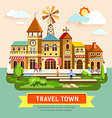 travel town vintage building vector image