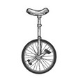 unicycle bicycle sketch engraving vector image vector image