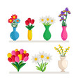 vases of flowers vector image