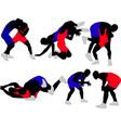 wrestlers vector image vector image