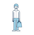 young man holding paper bag shopping vector image vector image
