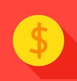 dollar coin flat icon vector image