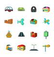 urban infrastructure icons set cartoon vector image