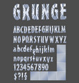 grunge alphabet in metallic design upper case vector image