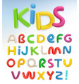3d plastic font children and school set vector image vector image