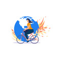 bicyclists worldwide movement flat concept vector image