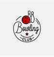 bowling ball logo round linear pins vector image