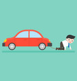 businessman chained with car burden about finance vector image vector image