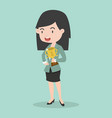 businesswomen with trophy cup flat icon vector image vector image