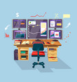 cartoon trader financial analyst workplace vector image vector image