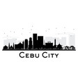 cebu city skyline black and white silhouette vector image vector image