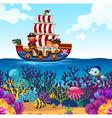 Children on viking boat and ocean scene vector image vector image
