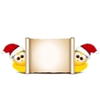 Christmas card design template Two funny chicken vector image vector image