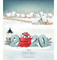 christmas holiday background with a snowy village vector image