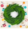 Circular Christmas wreath of pine or fir foliage vector image vector image