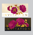 classic purple peony card with gold outline vector image