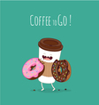 coffee and donut vector image vector image