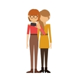 couple of women and redhead short hair take selfie vector image