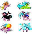 cute bundle halloween unicorn cliparts cartoon vector image