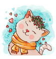 cute cat in scarf vector image vector image