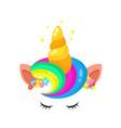 cute unicorn rainbow hair and horn vector image