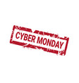cyber monday grunge rubber stamp on white vector image