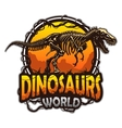 Dinosaurs world emblem vector image